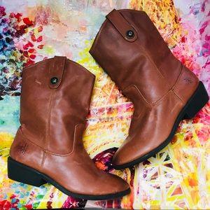 FRYE Melissa Button COGNAC Leather riding boots